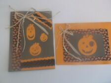 Halloween Pumpkin Handcrafted Cards. Set of two. Blank inside.