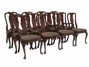 20TH C HENKEL HARRIS SET OF 12 MAHOGANY QUEEN ANNE ANTIQUE STYLE DINING CHAIRS