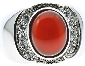 Red Agate Ruby Simulated Stone Cz Accented Stainless Steel Mens Ring Size 8 T23