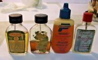 4 Vintage Bottles FISHING REEL OIL Pflueger Speede and Pflueger Marvel Mucilin