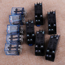 5pcs 110V AC 10A 8 Pin Black LY2NJ DPDT Small Coil Power Relay With Socket Base