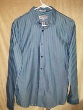 Express Fitted Long Sleeve Button Down Gray Blue White Stripe Mens Medium