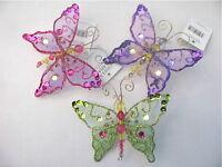 Gisela Graham Navidad Multicolor Fino Joya lentejuelas decoración mariposa X 3