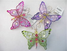 GISELA GRAHAM CHRISTMAS MULTICOLOUR SHEER JEWEL SEQUIN BUTTERFLY DECORATION X 3