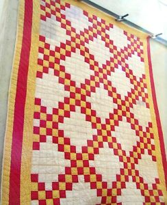 Antique Early 1900's Double Irish chain Quilt Hand stitched yellow red calico