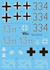 Torro decal sheet for 1/16 scale Tiger 1 Early Heng Long, Taigen, Tamiya tanks
