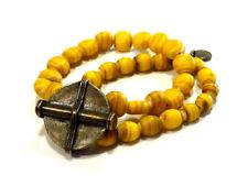 Bijou bracelet la Tribu Rigaux perles et médaillon alliage bronzé bangle