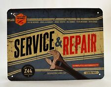 Superb Embossed Vintage Service & Repair Tin Plate Wall Sign 20cm x 15cm NEW