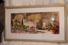 Window box With Geraniums/ Watercolor Print JUDITH STEIN - FRAMED & MATTED