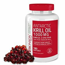 ANTARCTIC KRILL OIL 1000 mg with Astaxanthin 180 Softgels (90 days) Bronson Labs