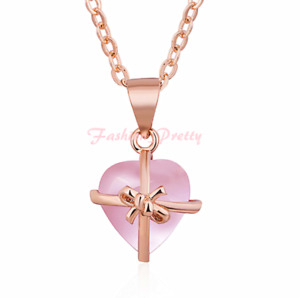 Pretty Rose Quartz Heart Necklace In14K Rose Gold Over Sterling Silver,18 Inches