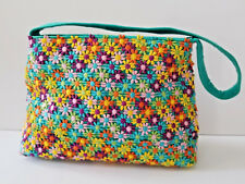 Dransfield and Ross New York Embroidered Multi-Color Flower Handbag