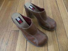 Tommy Hilfiger brown cognac slip on heels platforms mules womens size 6 M square