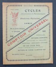 Catalogue 1911 COMPTOIR UNIVERSEL RENOVA vélo bike jumelle gramophone arme gun