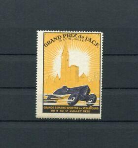 Cinderella / Poster Stamps Grand Prix Strasbourg Motorsport France 1922