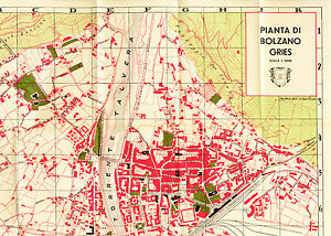 Bolzano Gries Bozen Booklet 72 pages with two extralarge maps 41x51 cm 1934 L547
