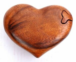 Heart Trinket Puzzle Carved Box Genuine Hand Carved Christmas Gift Idea
