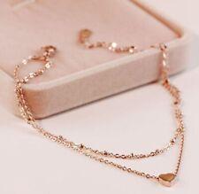 "Women Titanium Stainless Steel Delicate Heart Double Chain Hand Bracelet 5.7-8"""