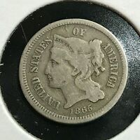 1865 THREE CENT NICKEL OLD TYPE COIN