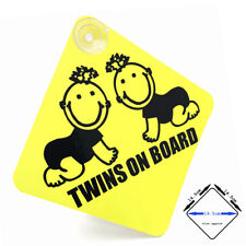 TWINS ON BOARD - yellow / black gloss car window sign with suction cups (01)