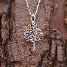 """Sterling Silver 925 Tree of Life Birds Pendant & 18"""" Chain Necklace Sea Gems"""