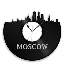 Moscow Vinyl Wall Clock City Skyline Personalized Home Bedroom Decor Unique Gift