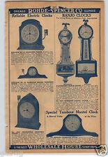 1930 PAPER AD Waterbury Banjo Wall Clock Whitney Tambour Model