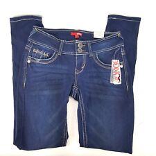Bongo Juniors Sz 1 Skinny Dark Wash Jeans Contrast Stitch Stretch Curvy Fit NWT