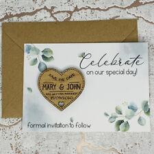Personalised Rustic Leaf Wedding Save The Date Heart Fridge Magnet Card Invites