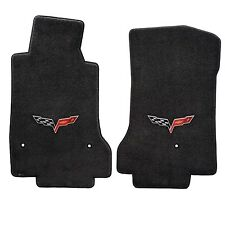 2008-2013 C6 Corvette Ebony Black 2pc Front Floor Mats Set - Crossed Flags Logos