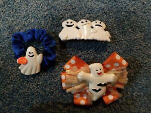 Fringe Clip Set for Girls Girly Ghost Hair Clip Set Halloween Ghost Faux Leather and Glitter Bar Clip Set