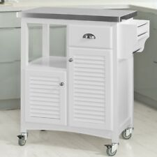 SoBuy®Carrito de cocina con piso de acero,estante,carrito de servir,FKW37-W,ES