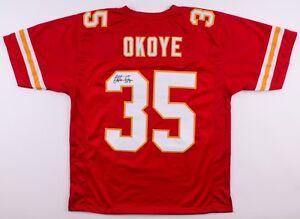 Christian Okoye Signed Chiefs Jersey (JSA COA) NFL rushing yards leader (1989)