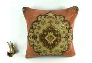 Kilim Pillow Cover 24x24 in Handmade Traditional Oushak Rug Cushion Cover 3561