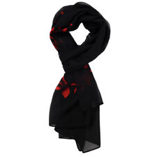 Black Red Flowering Branch Print Pattern Chiffon Scarf For Women H3J6