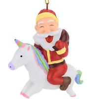 Tree Buddees Santa Riding A Unicorn Christmas Ornament Fun Funny Xmas Claus Ho