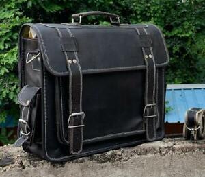 New Black Vintage Leather Handbag Messenger Laptop Large Briefcase For Men Women