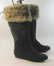 Black Flat Mid-Calf Boot Comfortable Top Fur Round Toe Us Womens Size 5.5