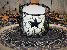 Rustic - Primitive - Round Black Chicken Wire Candle Holder with Stars