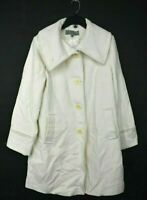Anne Klein Womens New White Button Front Long Sleeve Wool Blend Winter Coat 10