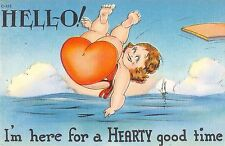 Comic postcard fat lady big butt bathing suit I'm here for a Hearty good time