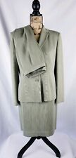 Casual Corner Annex Womens Skirt Pant Suit 8P Green Pinstripe 3 Pc Lined Career