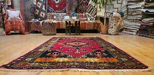 Unique Antique 1940-1950's Henna Dye Wool Pile Tribal Area Rug from Cappadocia