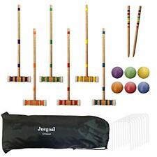 Juegoal Six Player Croquet Set with Drawstring Bag, 28 Inch