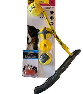 Fetch Zone Collapsible Ball Launcher ~ Dog Fetch Toy ~ 4 Balls + Safety Light