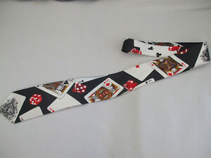 Mens Quality Tie Black With Playing Cards & Dice Patterning New