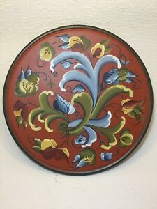 "12"" Hand painted wooden plate ,  Norwegian Rosemaling , SIGNED"