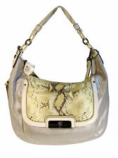 NWT Coach 16809 Kristin Silver Linen Embossed Python Large expandable Hobo  $698