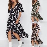 Women Chiffon Floral Print Boho Dress Fashion Deep V Neck Short Sleeve DresE4R9
