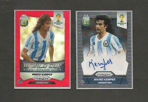 2014 World Cup Panini Argentina MARIO KEMPES Autograph Card + Red Foil Card